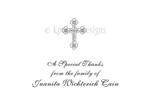 personalized funeral thank you cards cross