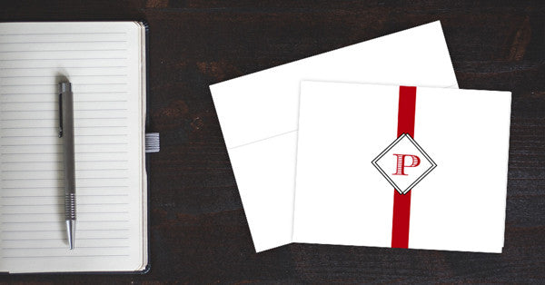 Double Diamonds Monogram Note Cards