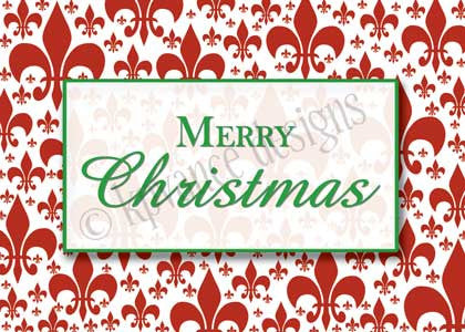 red fleur de lis background with green Christmas message