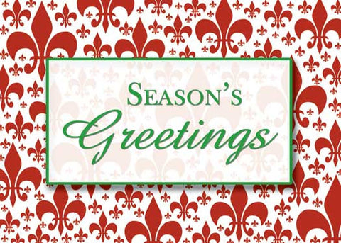 red fleur de lis background with green Season's Greetings message