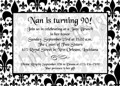 black and white fleur de lis invitation