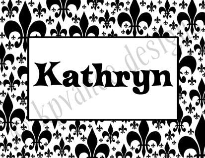 black and white fleur de lis personalized note cards