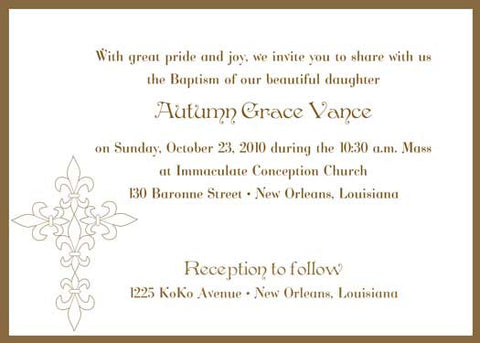 fleur de lis cross invitation/announcement