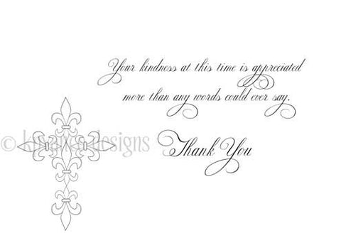 fleur de lis cross sympathy note cards
