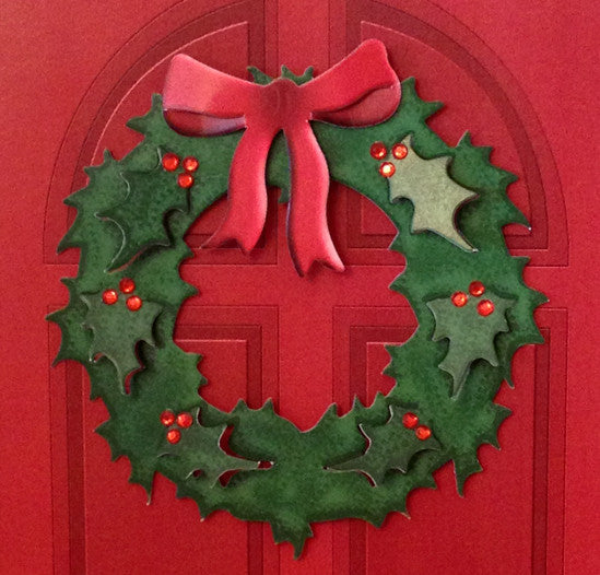 Festive Door Wreath Greeting Card