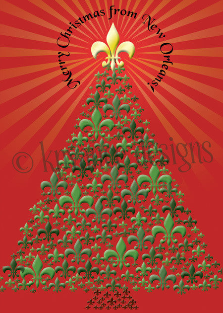 fleur de lis Christmas tree New Orleans Christmas card
