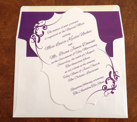 die cut flourish bracket invitation/announcement
