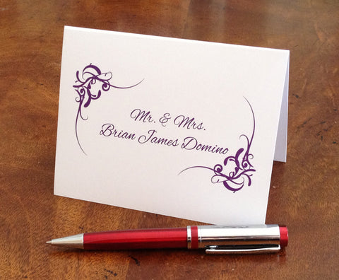 personalized flourish note cards