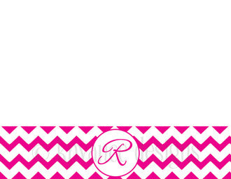 fuchsia chevron monogram note cards