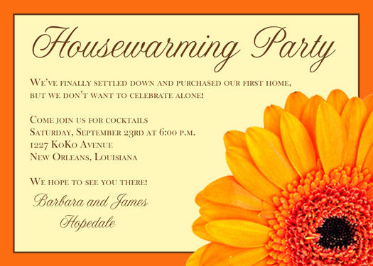Orange gerbera daisy invitation/announcement