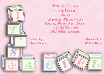 it's a girl pink baby blocks invitation/announcement