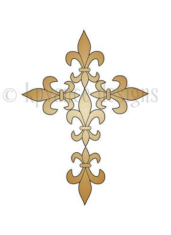 gold fleur de lis cross note card