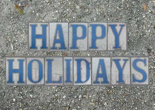 New Orleans street tiles Happy Holidays card