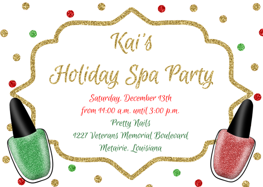 Christmas spa/manicure/pedicure invitation/announcement