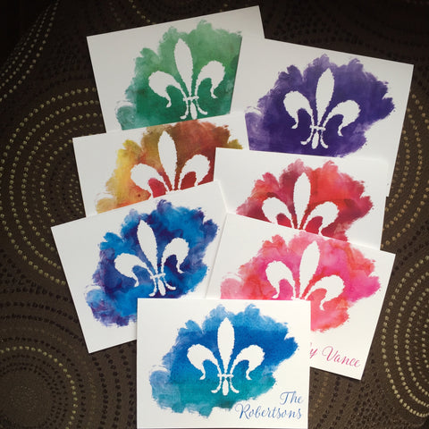 water color fleur de lis personalized note cards