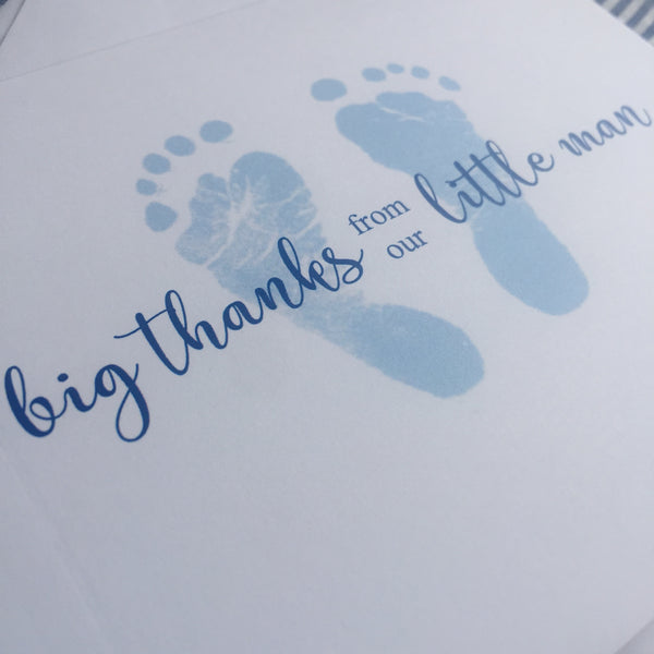 Blue Baby Feet Thank You Notes