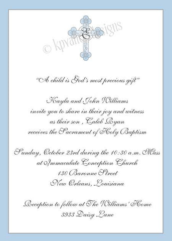 blue monogram cross invitation/announcement
