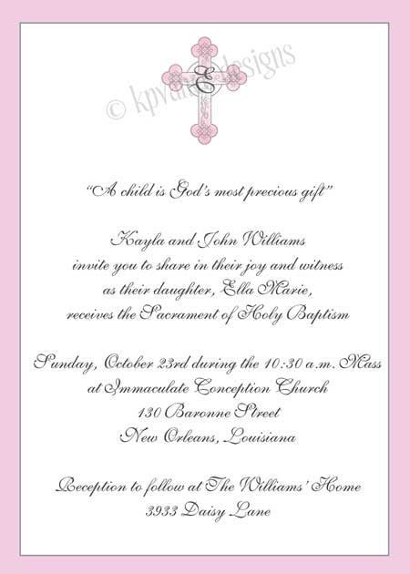 pink monogram cross invitation/announcement