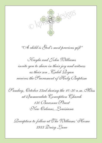 green monogram cross invitation/announcement