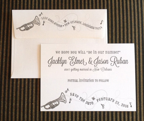 New Orleans trumpet jazz wedding save the date/announcement/invitation