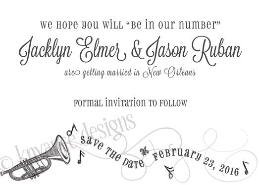 Jazz Save the Date Card- Linen Finish
