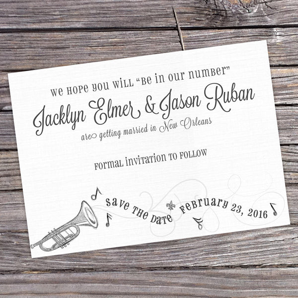 New Orleans Jazz Save the Date Card