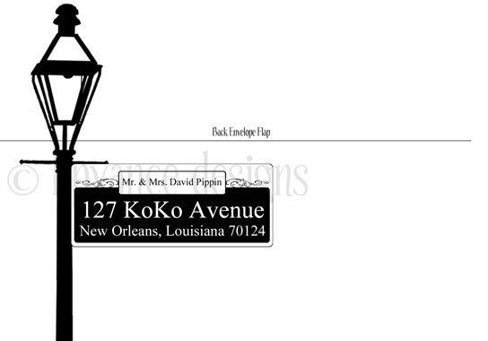 New Orleans lamp post decorative return address envelopes