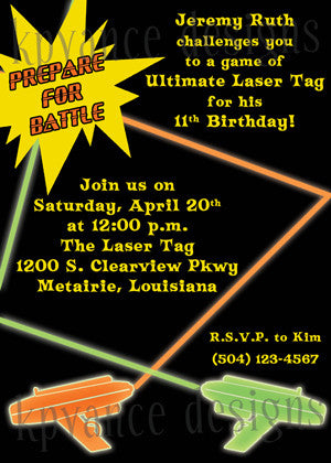 laser tag invitation/announcement