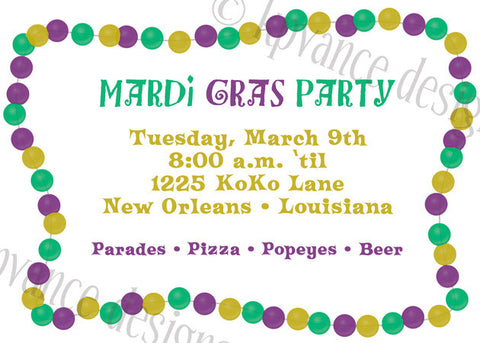 Mardi Gras beads invitation/announcement