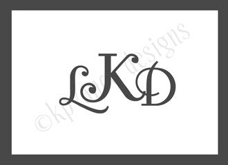 monogram bordered note cards