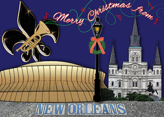 New Orleans collage Christmas card