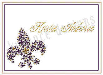 purple and gold fleur de lis personalized note cards