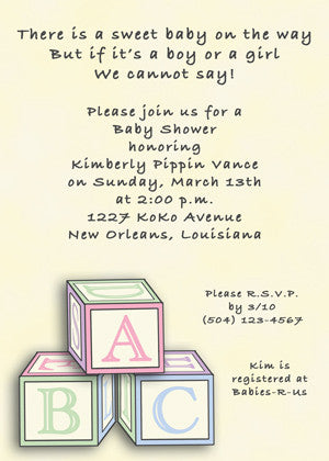 Invitations announcements tagged baby shower invitations baby block invitation neutral yellow filmwisefo