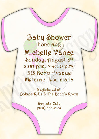 pink baby onesie invitation/announcement