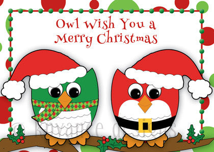 two red and green Christmas owls
