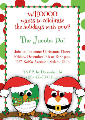Christmas Owls invitation