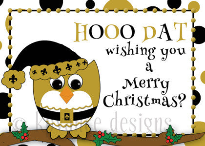 black and gold fleur de lis Santa owl with hooo dat greeting