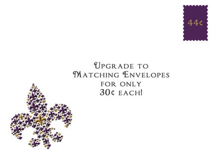 purple and gold fleur de lis decorative envelope