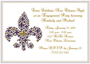 purple and gold fleur de lis invitation/announcement