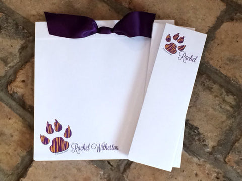 purple and gold tiger paw print personalized 3 piece note pad set