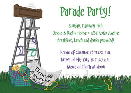 New Orleans parade ladder invitation/announcement