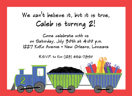 birthday party train invitation/announcement