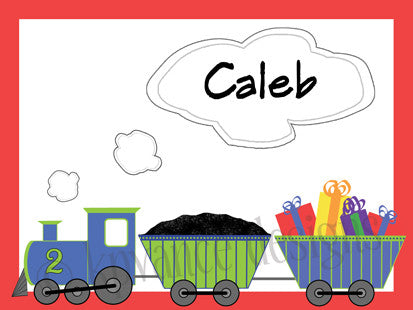 birthday party train personalized note cards