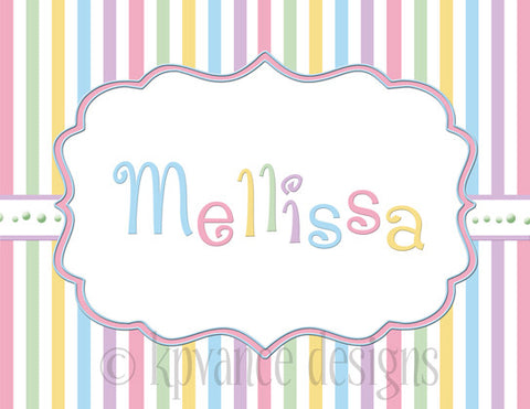 Pastel stripe personalized note card