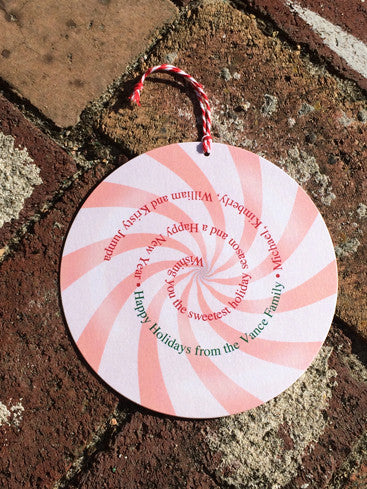 Peppermint Swirl Die Cut Holiday Card