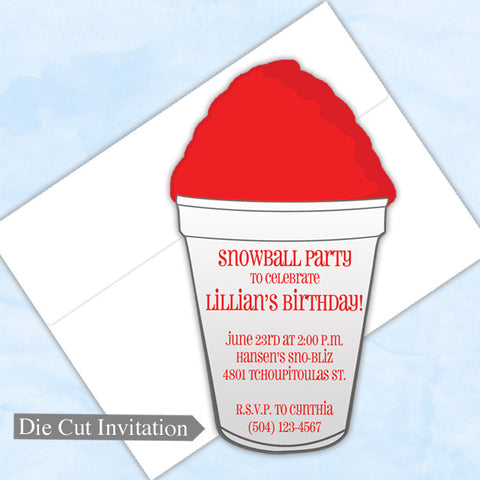 New Orleans snoball die cut invitation