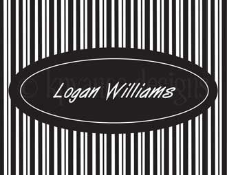 black and white pin stripe personalized note cards