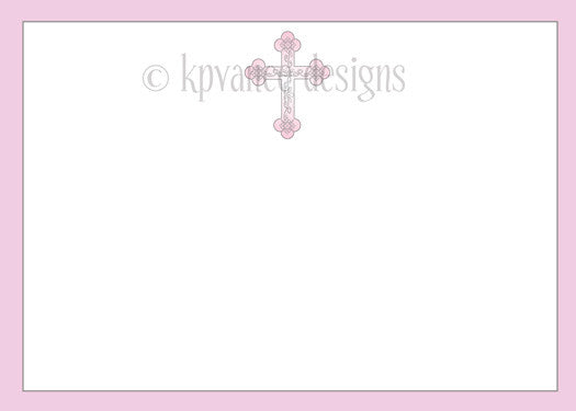 Bordered Filigree Cross Invitation- Pink