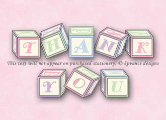 "pink baby blocks ""Thank You"" notes"