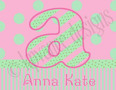 pink and green dots and stripes personalized girls note cards